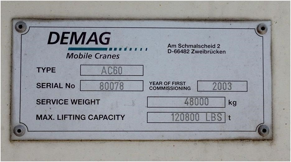 Detail photo of 2003 Terex AC 60 from Construction Equipment Guide