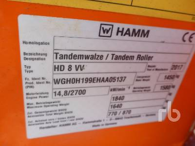 Detail photo of 2017 Hamm HD8VV from Construction Equipment Guide