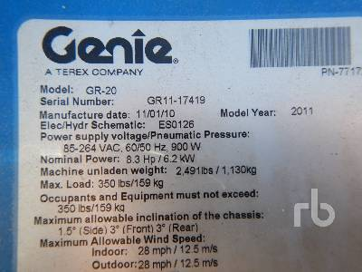 Detail photo of 2011 Genie GR-20 from Construction Equipment Guide