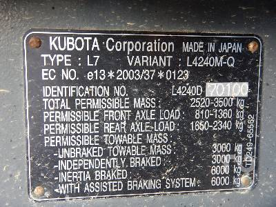 Detail photo of 2016 Kubota L4240-II from Construction Equipment Guide
