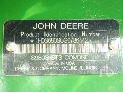 Detail photo of 2016 John Deere S680 from Construction Equipment Guide