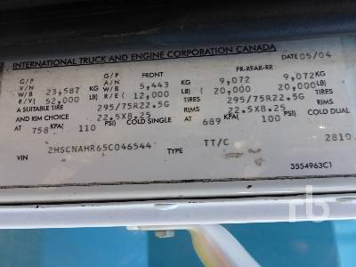Detail photo of 2005 International 9400I from Construction Equipment Guide